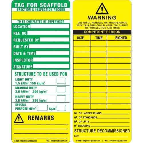 scaffold tag caution