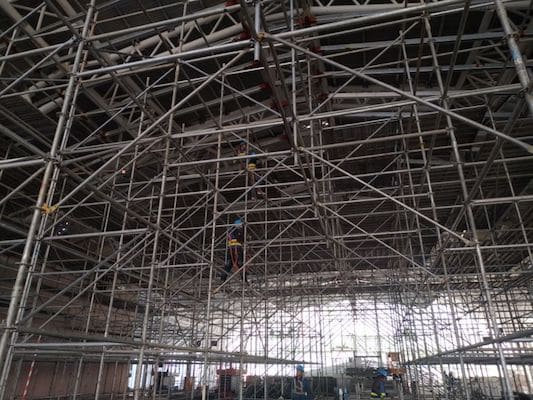 Qingdao sailing center overhanging scaffolding
